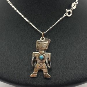 Navajo Kachina Turquoise Sterling Silver Necklace